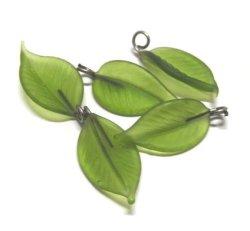 画像1: Frosted Green 1ring Leaf Beads (5個入り)