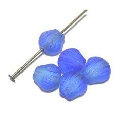 画像1: Frosted Two-tone Blue Shell Shaped Beads 8.5mm(5個入り)